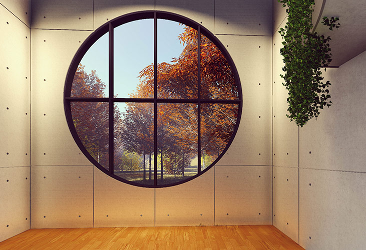 Runde Fenster sind eine aufwendige und seltene Fensterform