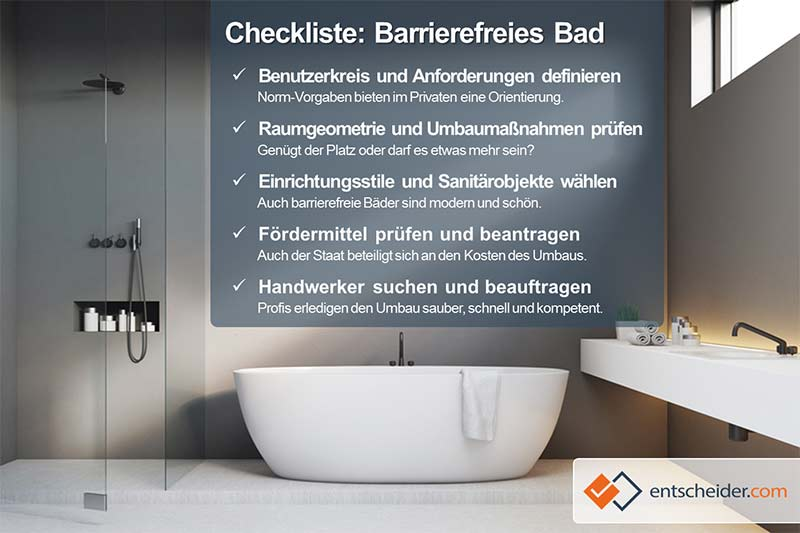 Checkliste barrierefreies Bad